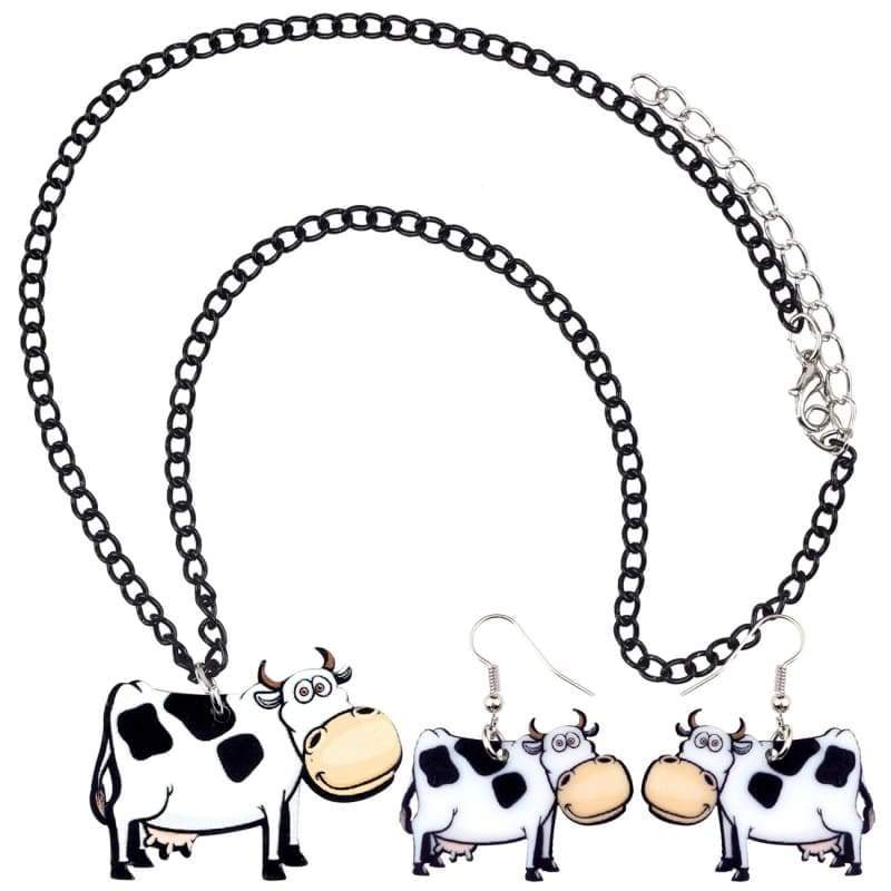 Happy Cow Earrings And Necklace Set | Cow Loco