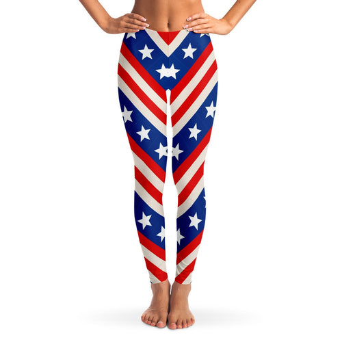 woman wearing Squat Proof Stars And Stripes 4th of July Leggings | Cow Loco