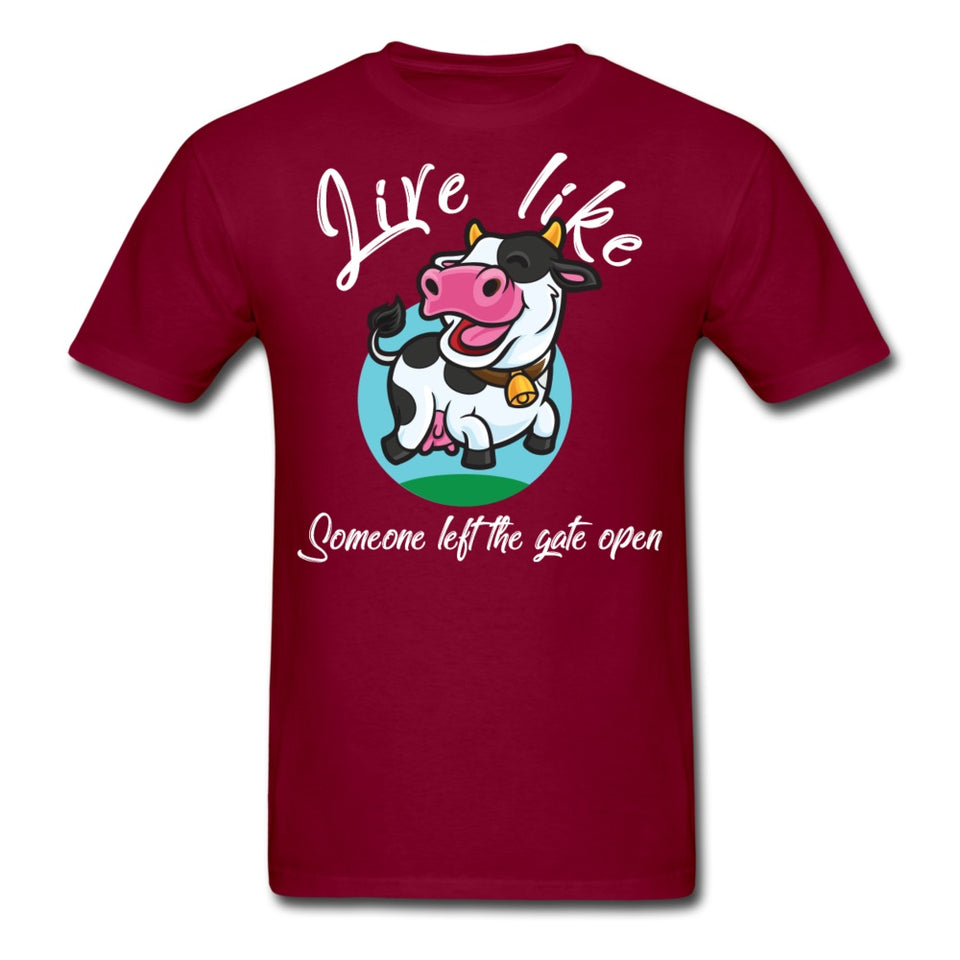 Funny Happy Cow T-Shirt - burgundy