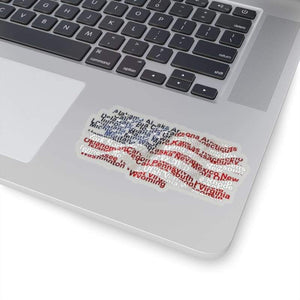 USA Flag with states Sticker | Cow Loco