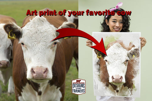 Personalized Watercolor Art Poster | Cow Loco