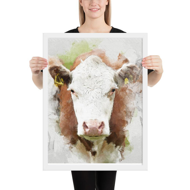 Personalized Watercolor Framed Poster | Cow Loco