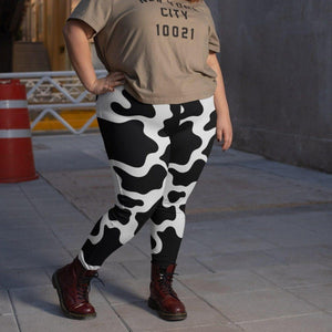 Plus Size Women's Cow Print Leggings