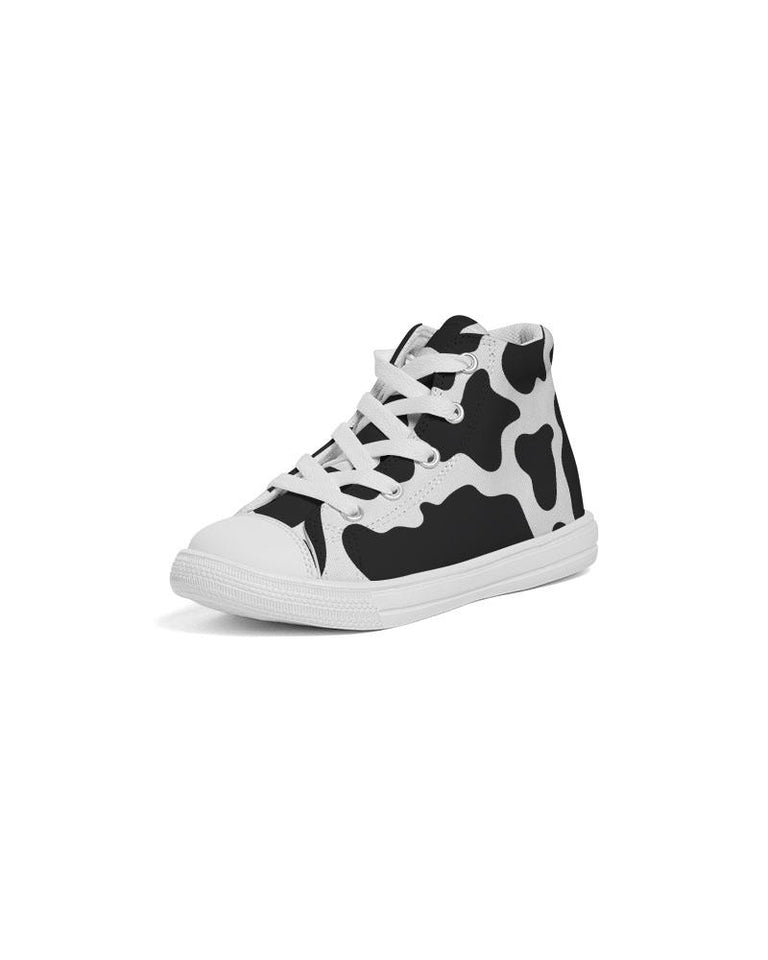 Cow Print Kids Hightop Canvas Shoe