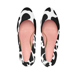 Glam Cow Print Women's Platform Heels - Designs For Farmers