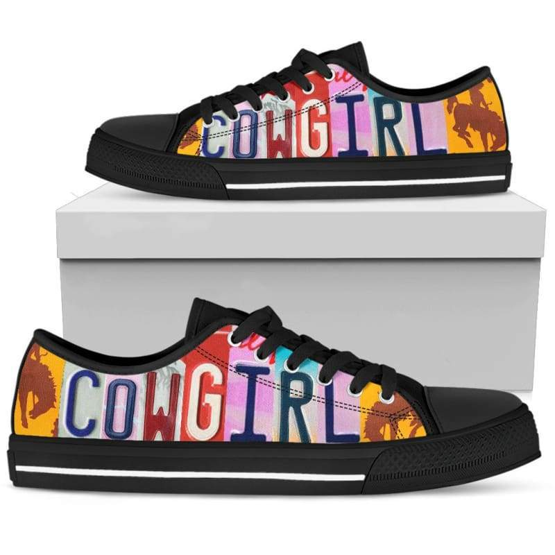Cowgirl - Black Canvas Sneakers | Cow Loco