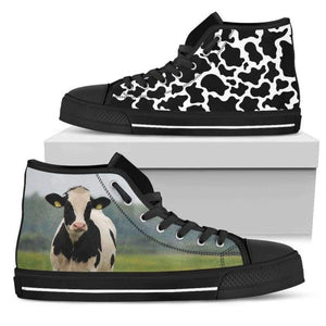 Women's Cow High Top Shoes | Cow Loco
