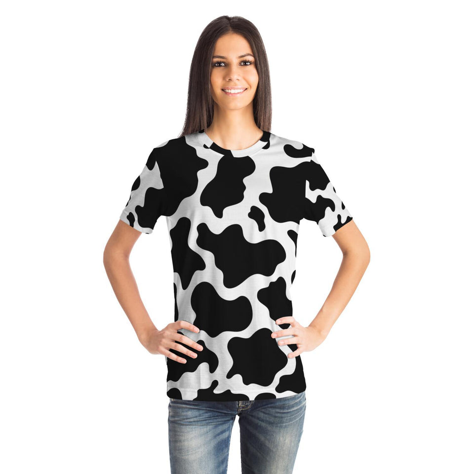 Girl Wearing a Premium Cow Print All Over T-Shirt | Cow Loco