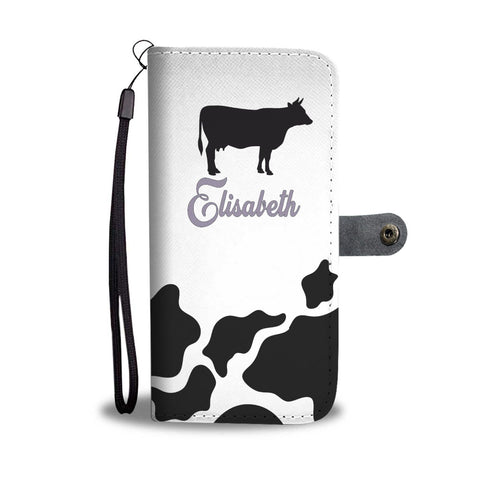 Personalized Cow Print Phone Case Wallet with Purple name text