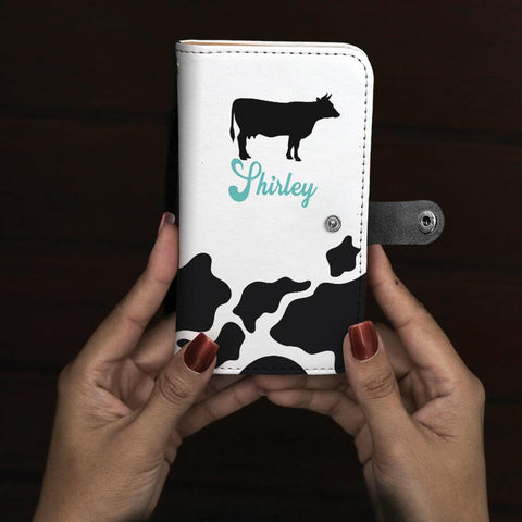 Personalized Cow Print Phone Case Wallet with Blue name text