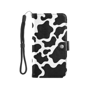 Cow Print Leather Wallet Phone Case