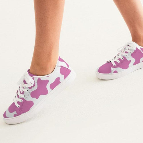 Stylish pink cow print sneakers in faux-leather with white sole
