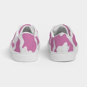 Pink Cow Print Women's Faux-Leather Sneakers