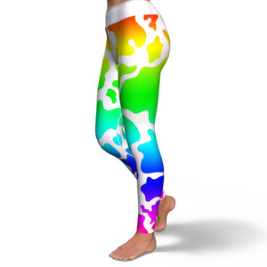 Light Rainbow Cow Print Yoga Leggings