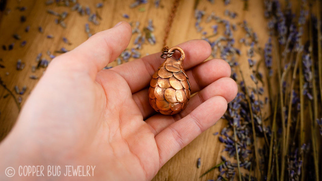 A Mother's Gifts - Viserion- Electroformed Copper Necklace Crystal Necklace Copper Bug Jewelry
