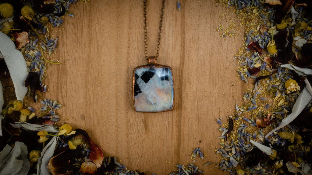 Amazing Square Rainbow Moonstone Electroformed Copper Necklace Crystal Necklace Copper Bug Jewelry