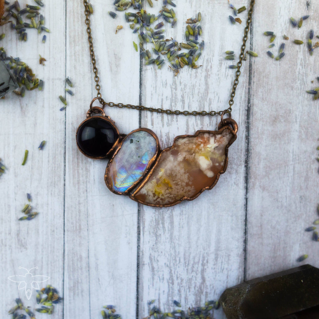 Amethyst Moonstone and Flower Agate Asymetrical Electroformed Copper Necklace Crystal Necklace Copper Bug Jewelry