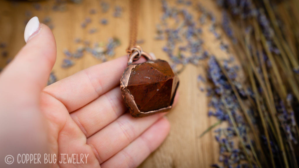 Auralite-23 Thunder Bay Amethyst Point Electroformed Copper Necklace Crystal Necklace Copper Bug Jewelry