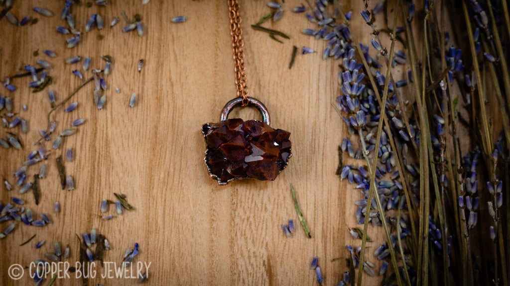 Auralite23 Thunderbay Amethyst Electroformed Copper Necklace Crystal Necklace Copper Bug Jewelry