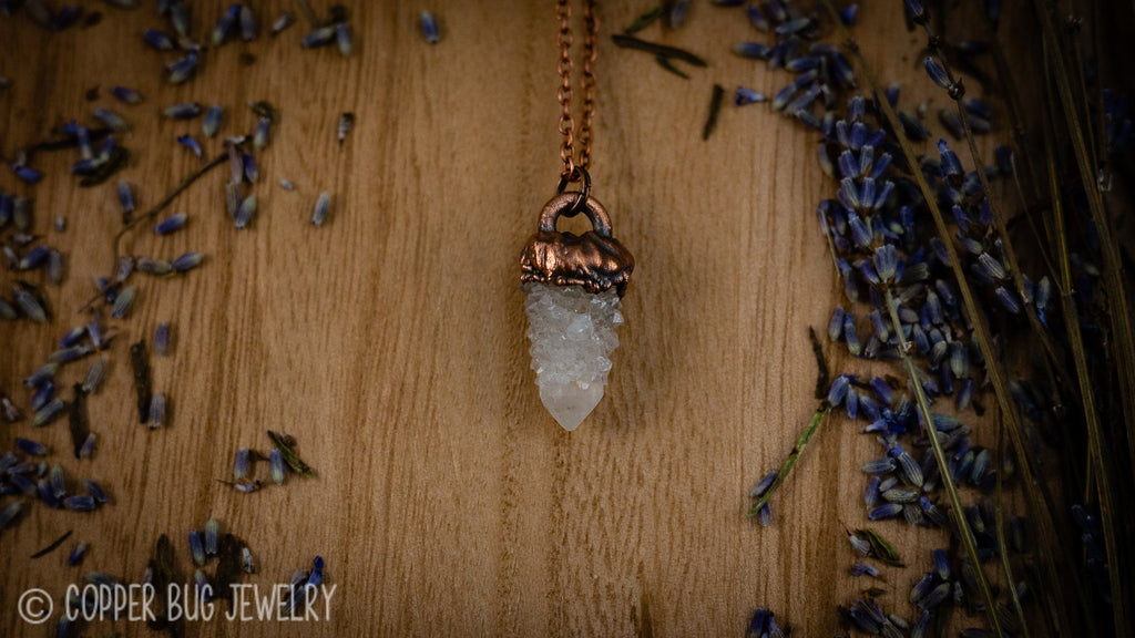 Baby Spirit Quartz Electroformed Copper Necklace #5 Crystal Jewelry Copper Bug Jewelry