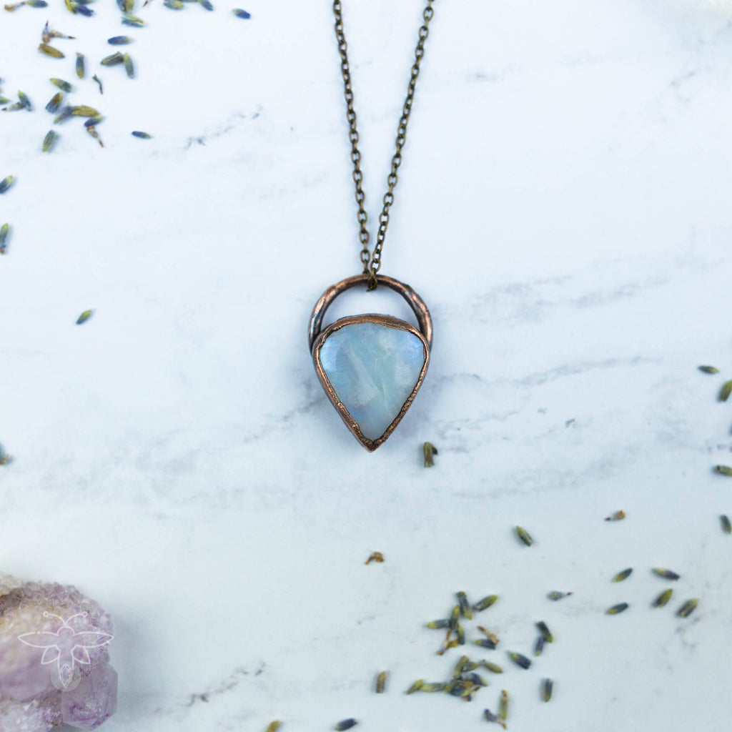 Beautiful Blue Rainbow Moonstone Electroformed Copper Necklace Crystal Necklace Copper Bug Jewelry