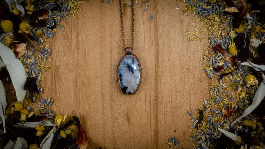 Blue Rainbow Moonstone Electroformed Copper Necklace Crystal Necklace Copper Bug Jewelry