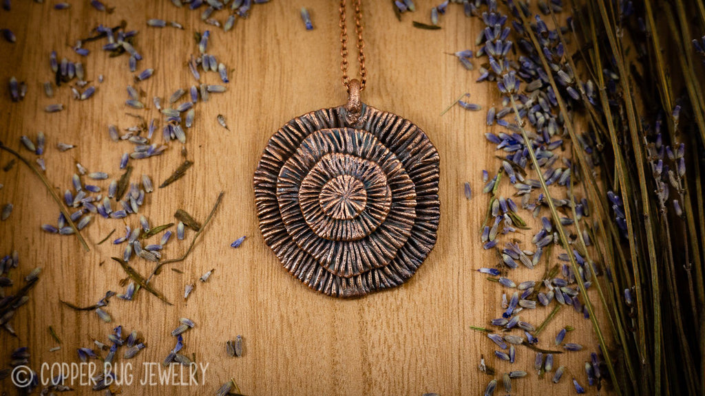 Botanical Portal Electroformed Copper Statement Necklace Copper Penadants Copper Bug Jewelry