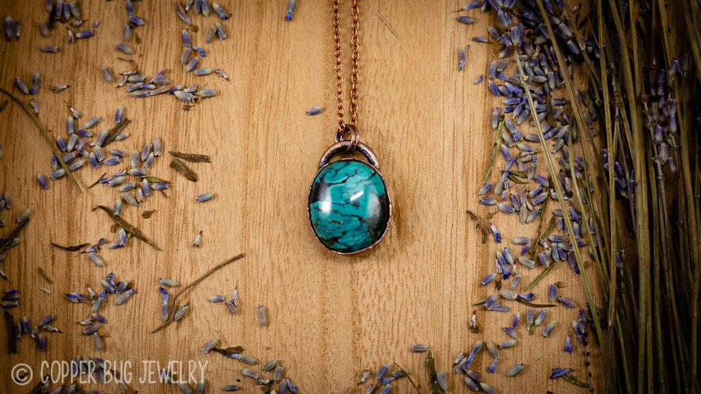 Bright Blue Tibetan Turquoise Electroformed Copper Necklace Crystal Necklace Copper Bug Jewelry