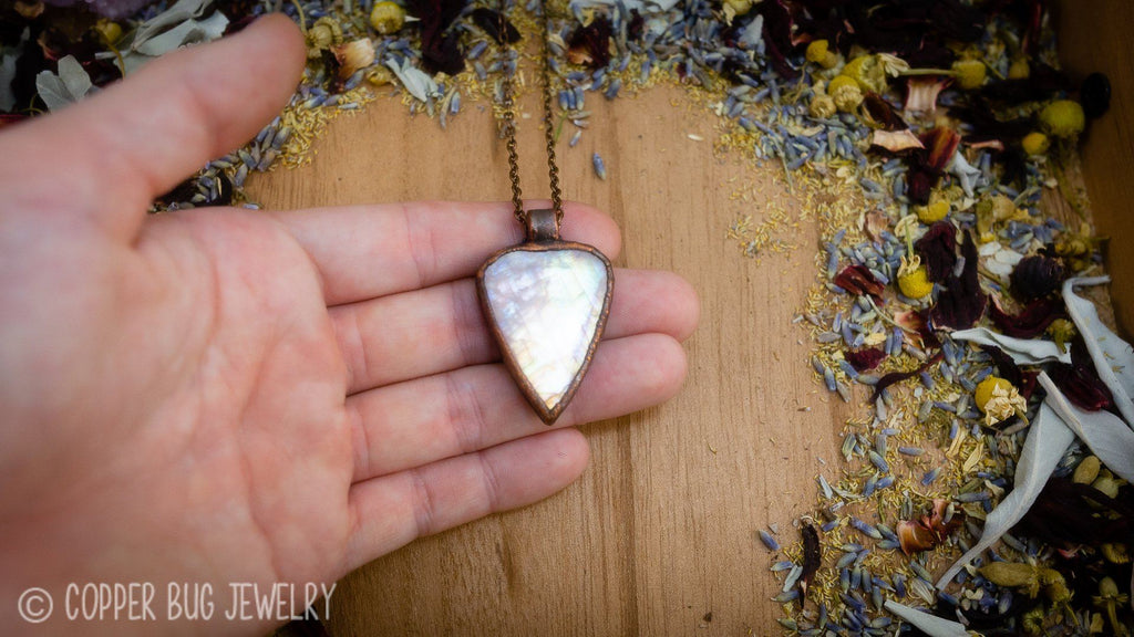 Bright Rainbow Moonstone with Lavender Electroformed Copper Necklace Crystal Necklace Copper Bug Jewelry