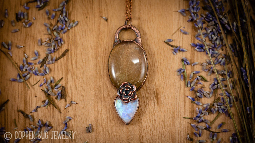 Champagne Golden Rutile Quartz and Flashy Moonstone Electroformed Copper Necklace Crystal Jewelry Copper Bug Jewelry