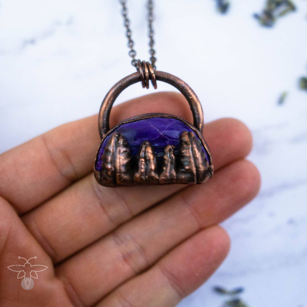 Copper Trees Under the Charoite Sky Electroformed Copper Necklace Crystal Necklace Copper Bug Jewelry