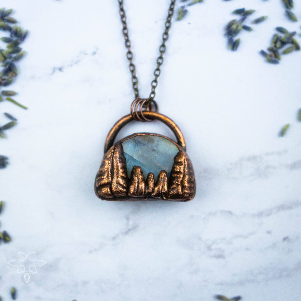 Copper Trees Under the Glowing Moonstone Sky Electroformed Copper Necklace Crystal Necklace Copper Bug Jewelry