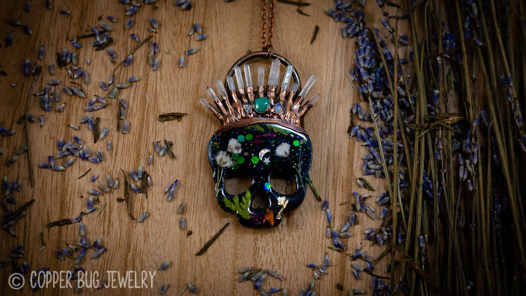 Crowned Botanical Resin Skull Electroformed Copper Necklace Crystal Necklace Copper Bug Jewelry