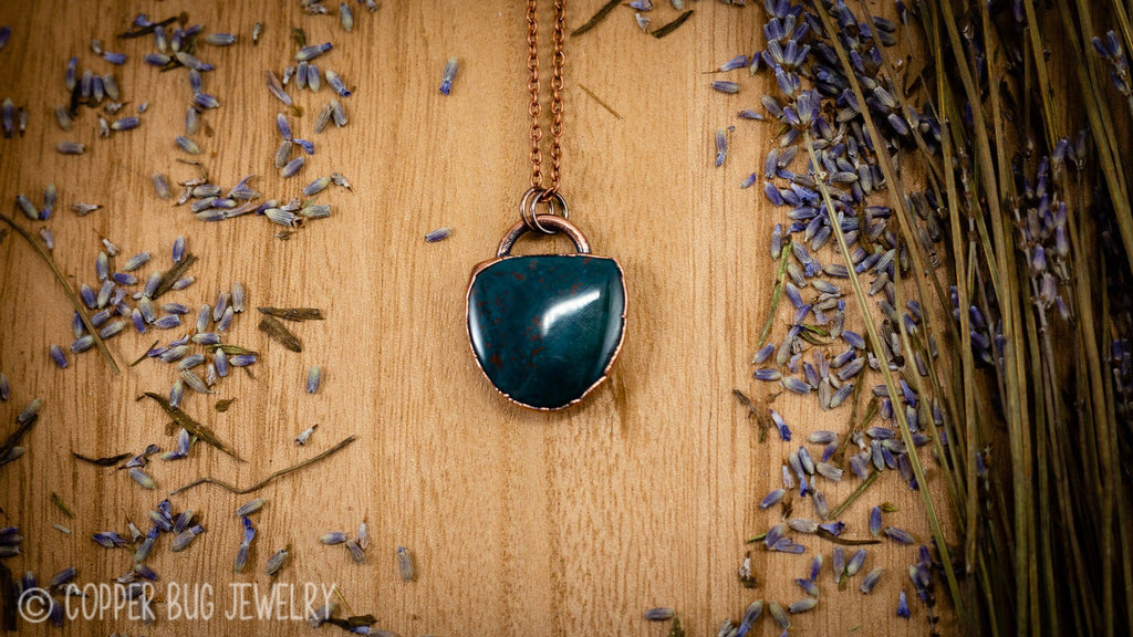 Dark Green Bloodstone Sheild Electroformed Copper Necklace Crystal Necklace Copper Bug Jewelry