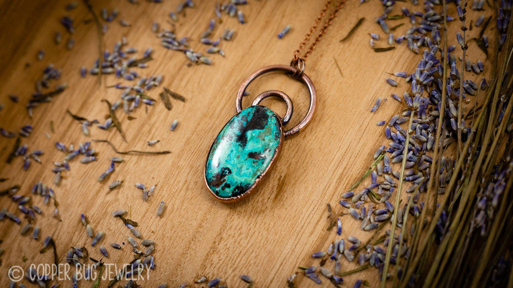 Double Bailed Shattuckite Electroformed Copper Necklace Crystal Necklace Copper Bug Jewelry