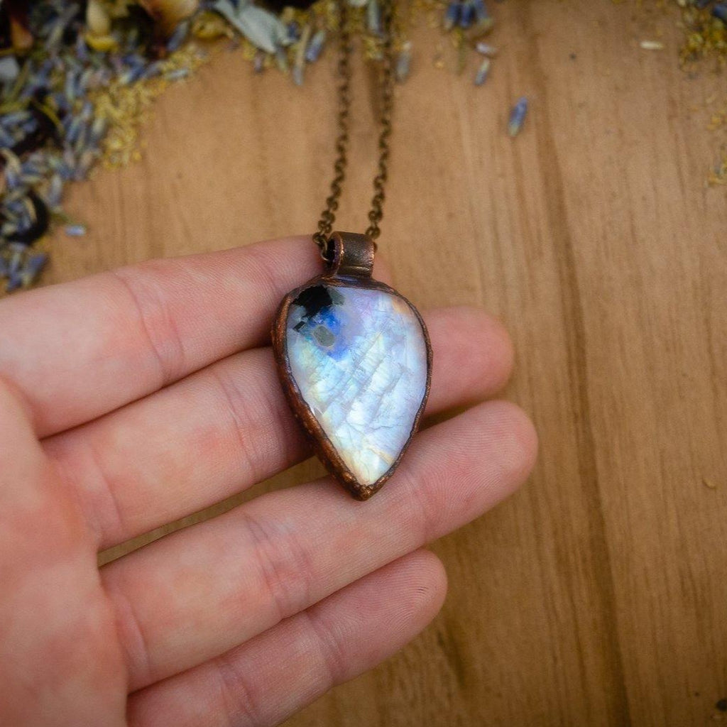 Exquisite Rainbow Moonstone Electroformed Copper Necklace Crystal Necklace Copper Bug Jewelry