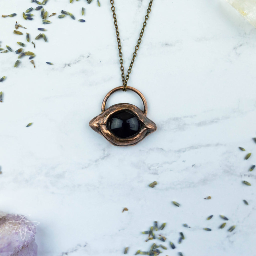 Eye See You Deeply - Amethyst Electroformed Copper Necklace Crystal Necklace Copper Bug Jewelry