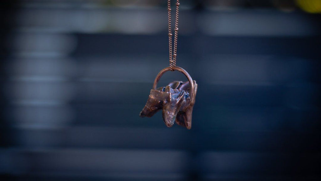 Found Bovine Cow Tooth Full Electroformed Copper Halloween Necklace - Copper Bug Jewelry Organics Copper Bug Jewelry