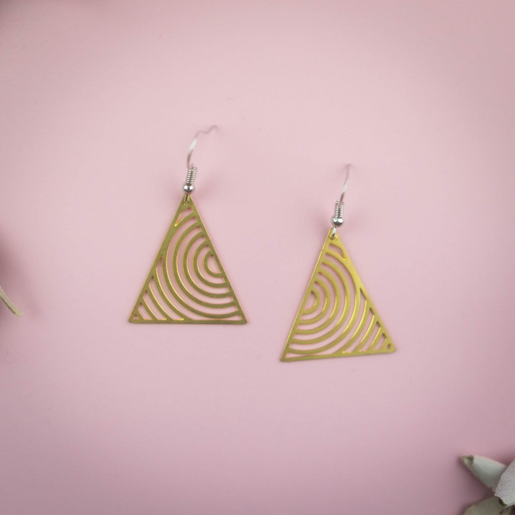 Geometric Triangles Dangling Earrings Earrings Copper Bug Jewelry