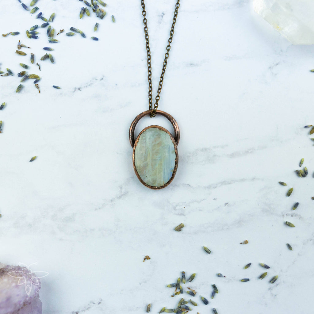 Gorgeous Rainbow Moonstone Electroformed Copper Necklace Crystal Necklace Copper Bug Jewelry