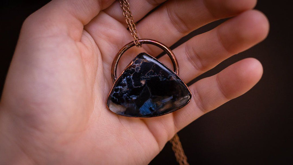 GORGEOUS Teardrop Shaped Pietersite Electroformed Copper Pendant Crystal Necklace Copper Bug Jewelry