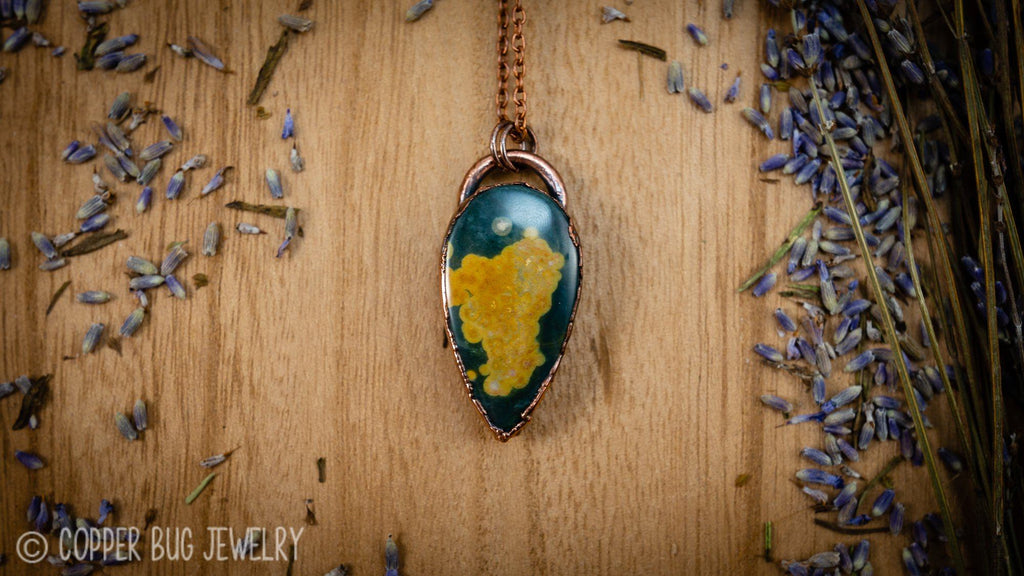 Green and Yellow Ocean Jasper Electroformed Necklace Crystal Necklace Copper Bug Jewelry