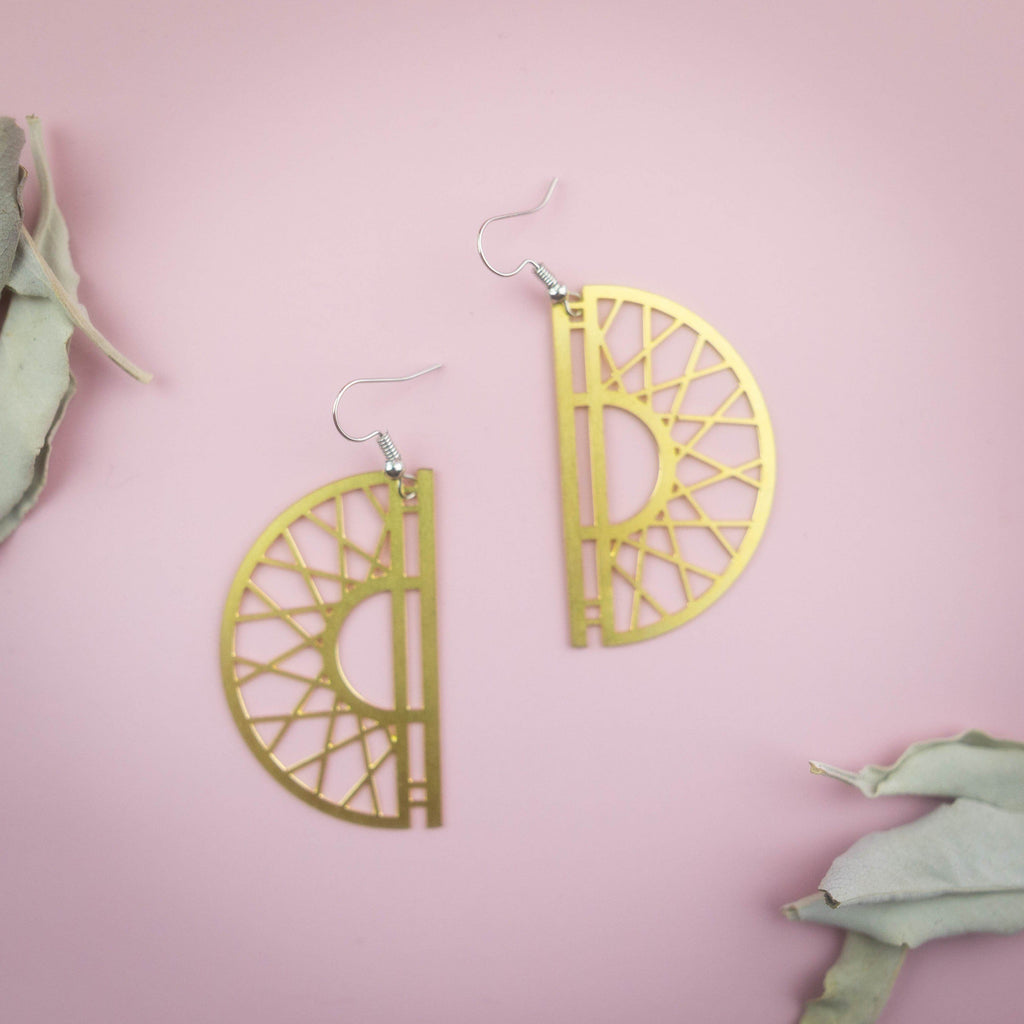 Half Moon Geometric Triangles Dangling Earrings Earrings Copper Bug Jewelry