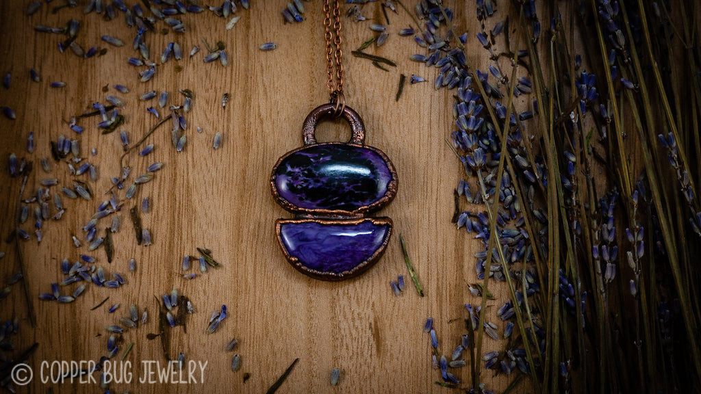 Large Chatoyant Charoite Electroformed Copper Necklace Crystal Necklace Copper Bug Jewelry