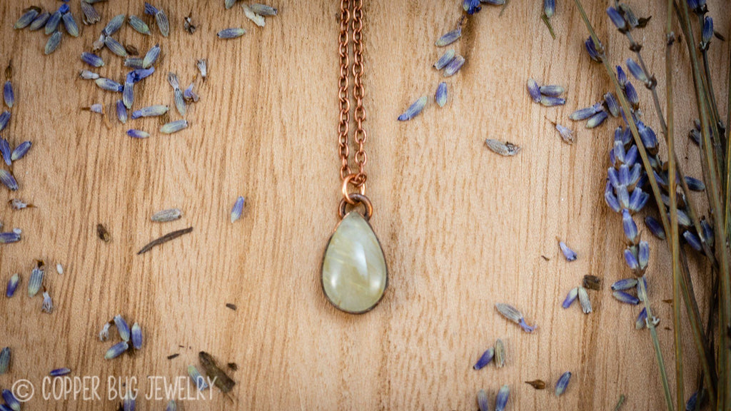 Little Golden Rutile Quartz Electroformed Copper Necklace Crystal Necklace Copper Bug Jewelry