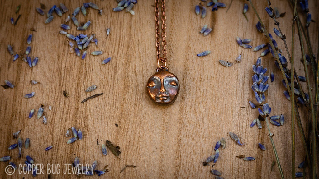 Little Serene Faced Electroformed Copper Necklace Copper Jewelry Copper Bug Jewelry
