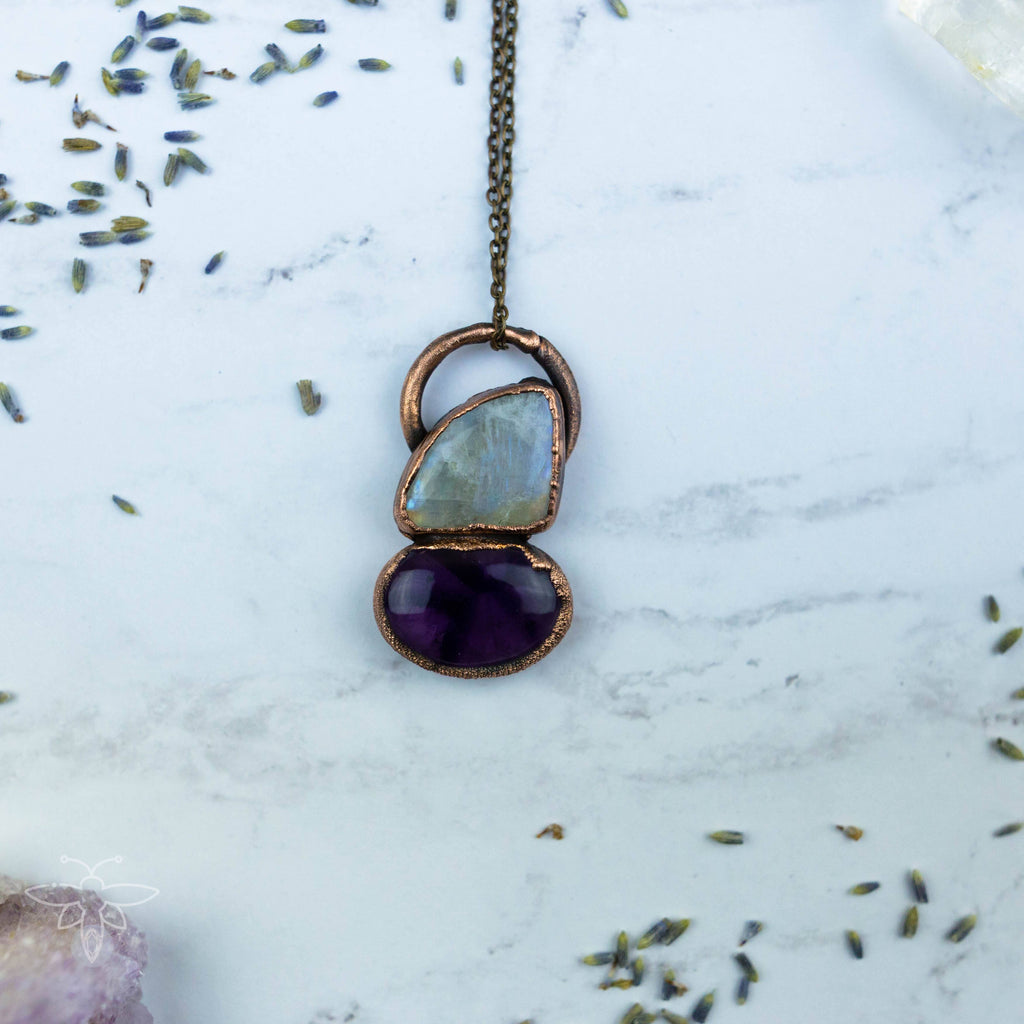 Moonstone and Amethyst Beauty Electroformed Copper Necklace Crystal Necklace Copper Bug Jewelry