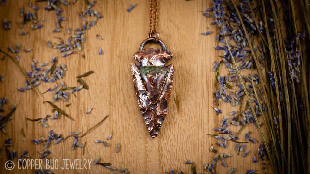 Multi Color Moss Agate Arrowhead Electroformed Copper Necklace Crystal Necklace Copper Bug Jewelry