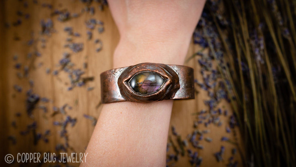 Purple and Yellow All Seeing Eye Copper Cuff Bracelet - Size 7 Copper Bracelet Copper Bug Jewelry