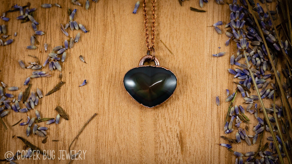 Rainbow Obsidian Polished Heart Electroformed Copper Necklace 2 Crystal Necklace Copper Bug Jewelry